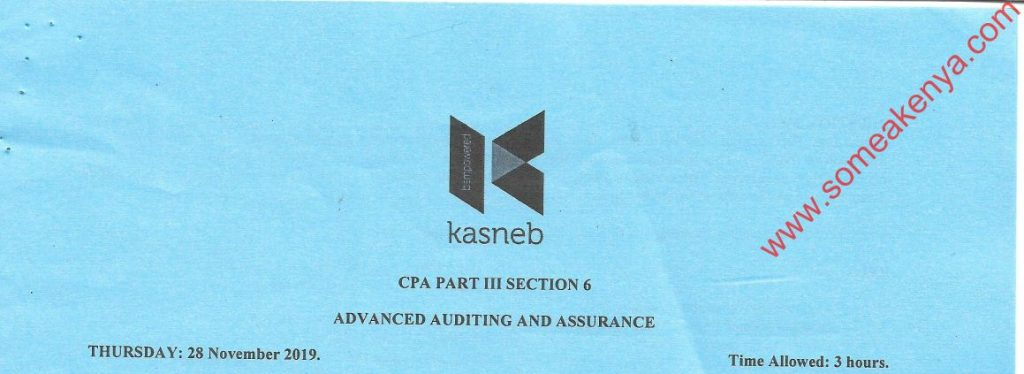 Advanced Auditing and Assurance November 2019 Past Paper
