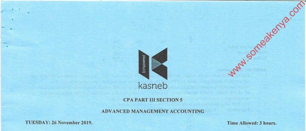 Advanced Management Accounting November 2019 Past Paper