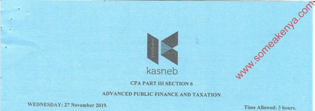 Advanced Public Finance and Taxation November 2019 Past Paper