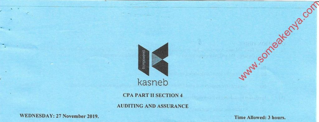 Auditing and Assurance November 2019 Past Paper