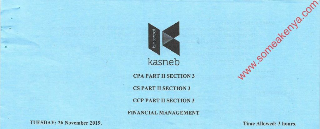 Financial Management November 2019 Past Paper