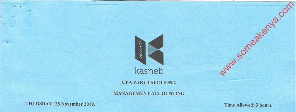Management Accounting November 2019 Past Paper