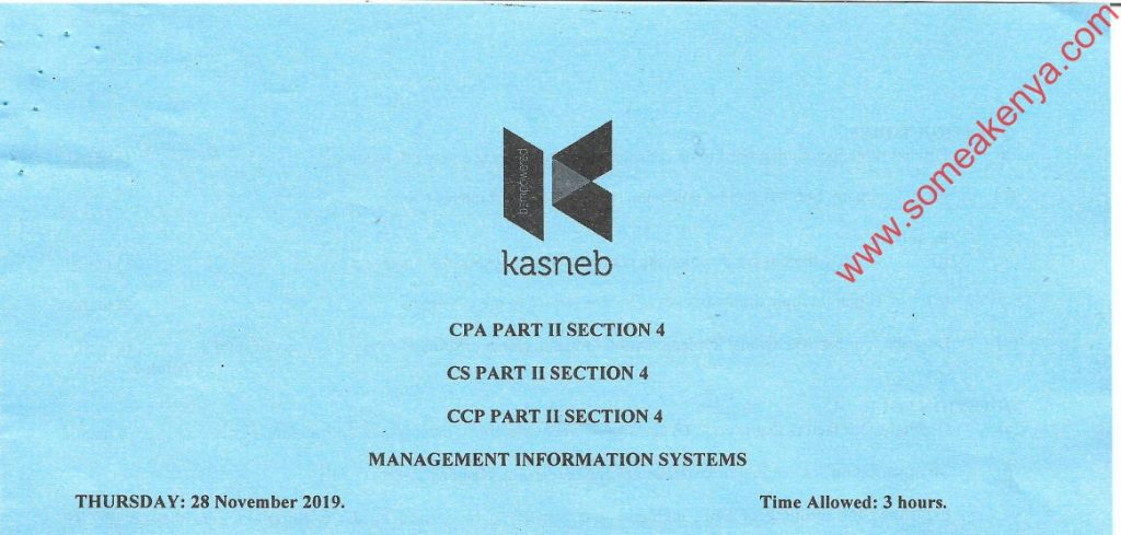 Management Information Systems November 2019 Past Paper