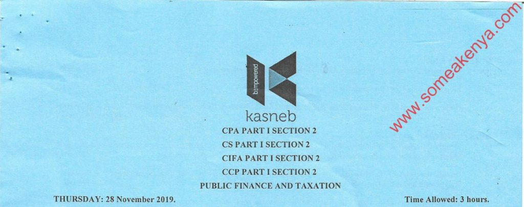 Public Finance and Taxation November 2019 Past Paper