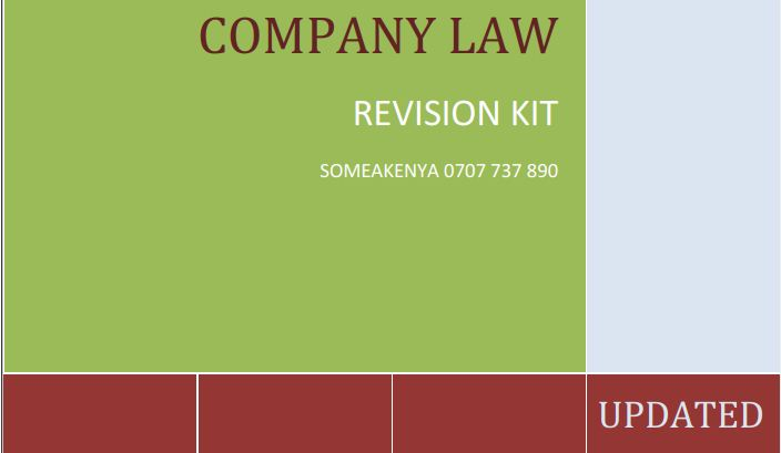 Company Law Revision Kit