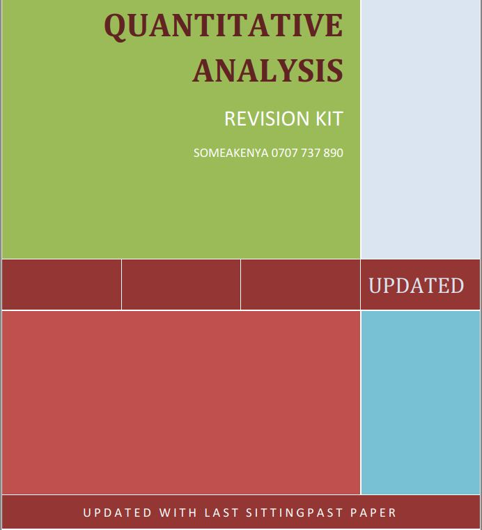 Quantitative Ananalysis (QA) Revision Kit for CPA, CIFA and CCP