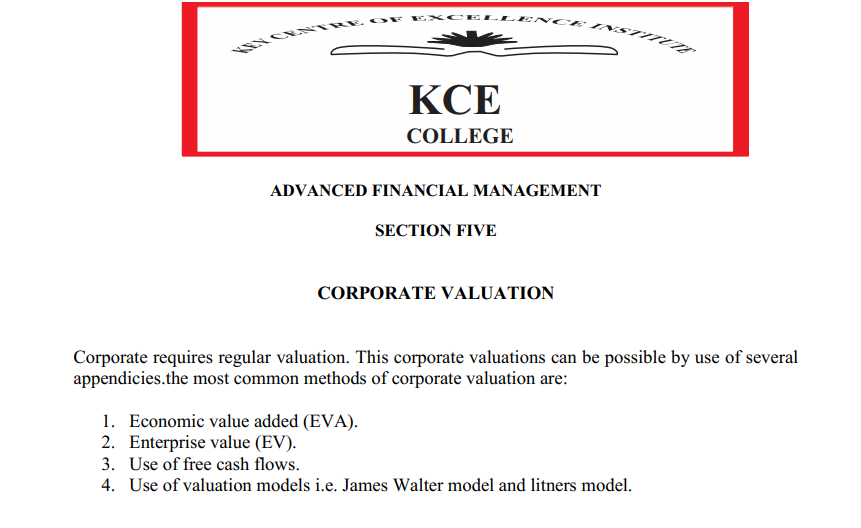 cORPORATE VALUATION NOTES- ADVANCED FINANCIAL MANAGEMENT