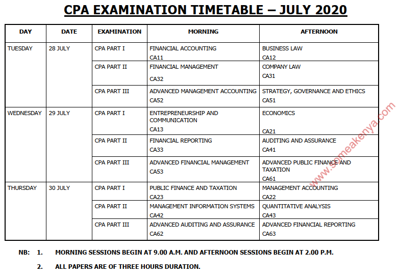 CPA Examination Timetable - July 2020 - Click to Download