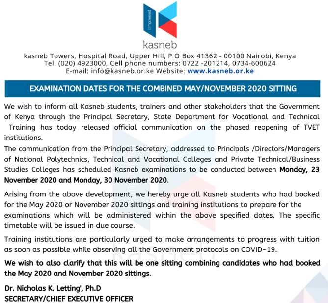 Kasneb examinations to be conducted between Monday, 23 November 2020 and Monday, 30 November 2020