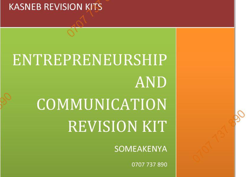 Entrepreneurship and Communication Revision Kit