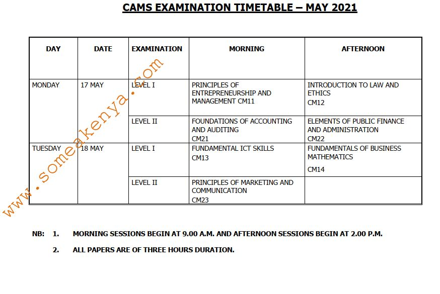 CAMS Examination Timetable April 2021 - Click to Download