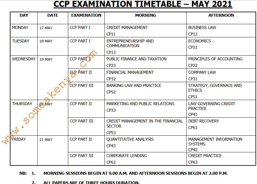 CCP Examination timetable May 2021 - Click to Download