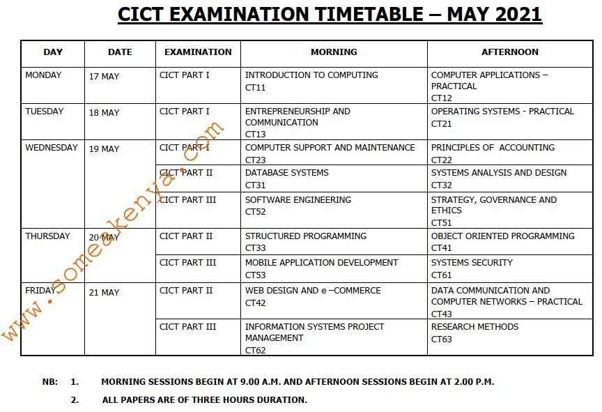 CICT Examination Timetable May 2021 - Click to Download