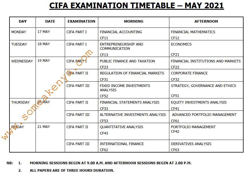 CIFA Examination Timetable May 2021 - Click to Download