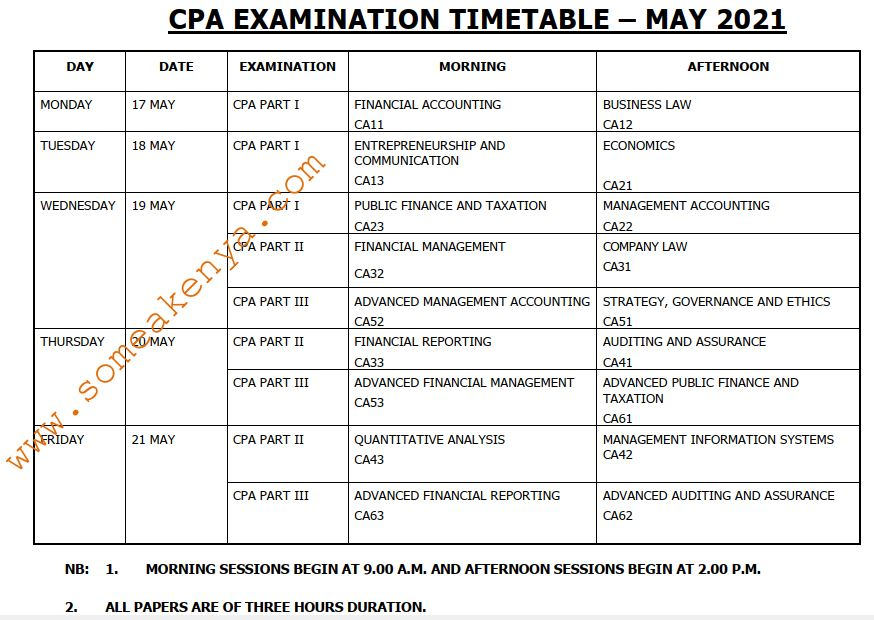 CPA Examination Timetable May 2021 - Click to Download
