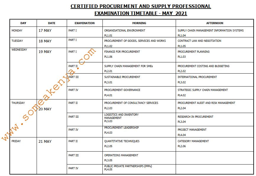 CPSP Examination Timetable May 2021 - Click to Download