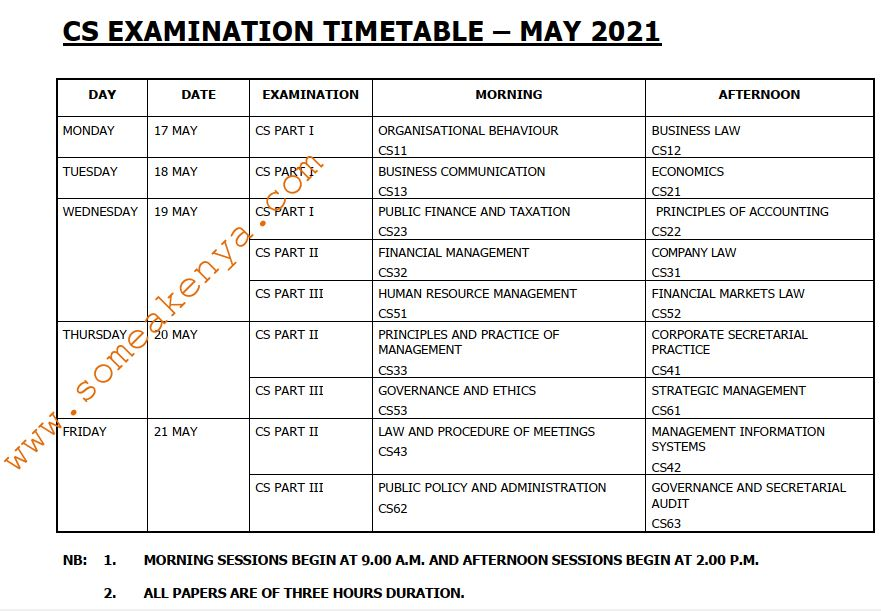 CS Examination Timetable May 2021 - Click to Download