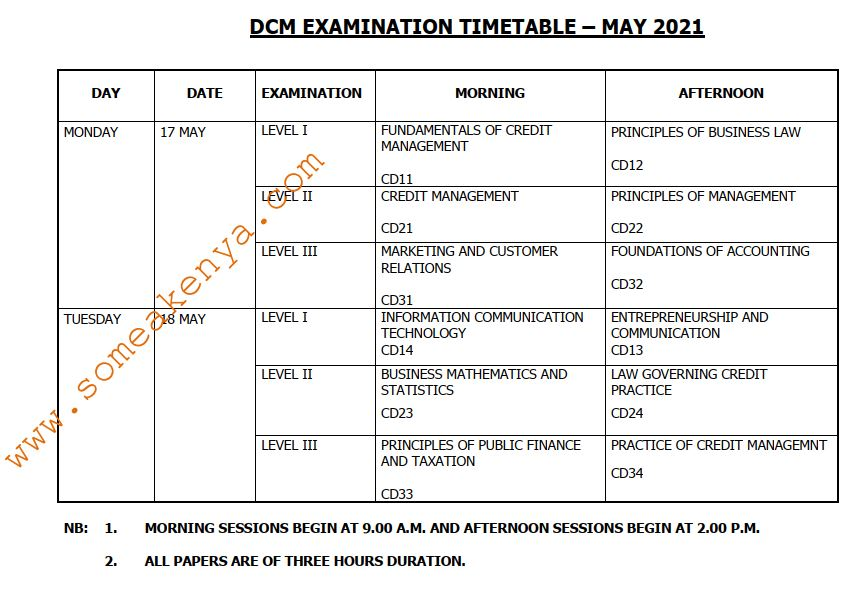 DCM Examination Timetable May 2021 - Click to Download