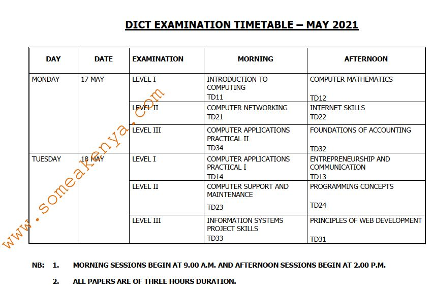 DICT Examination Timetable May 2021 - Click to Download