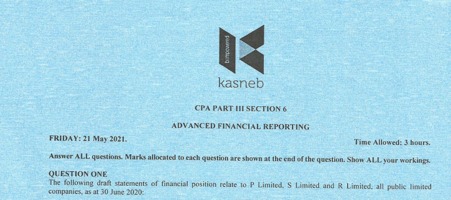 Advanced Financial Reporting May 2021