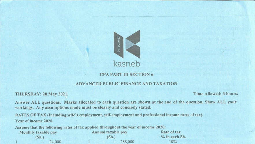 Advanced Public Finance and Taxation May 2021