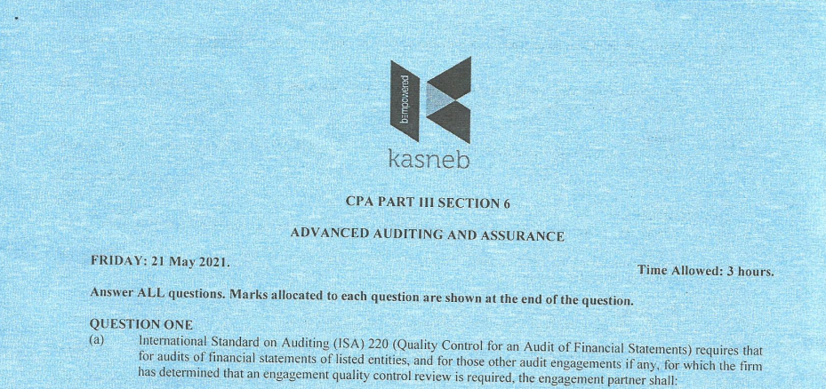 Advanced auditing and Assurance May 2021