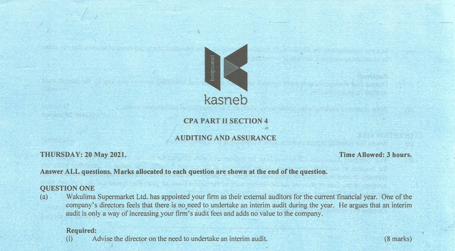 Auditing and Assurance may 2021