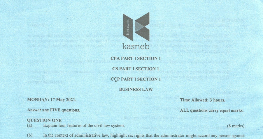 Business Law May 2021 Past Paper