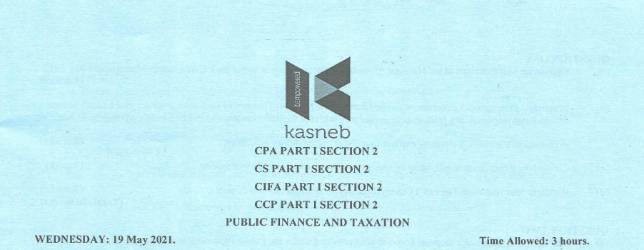 Public Finance and Taxation May 2021 Past Paper