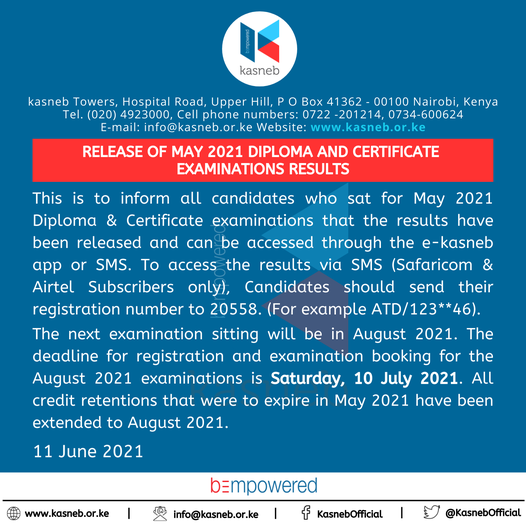 RELEASE OF MAY 2021 DIPLOMA AND CERTIFICATE EXAMINATIONS RESULTS