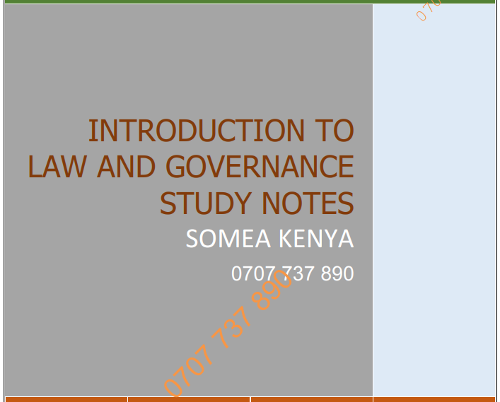 Introduction to Law and Governance new revised CPA CS CCP KASNEB notes