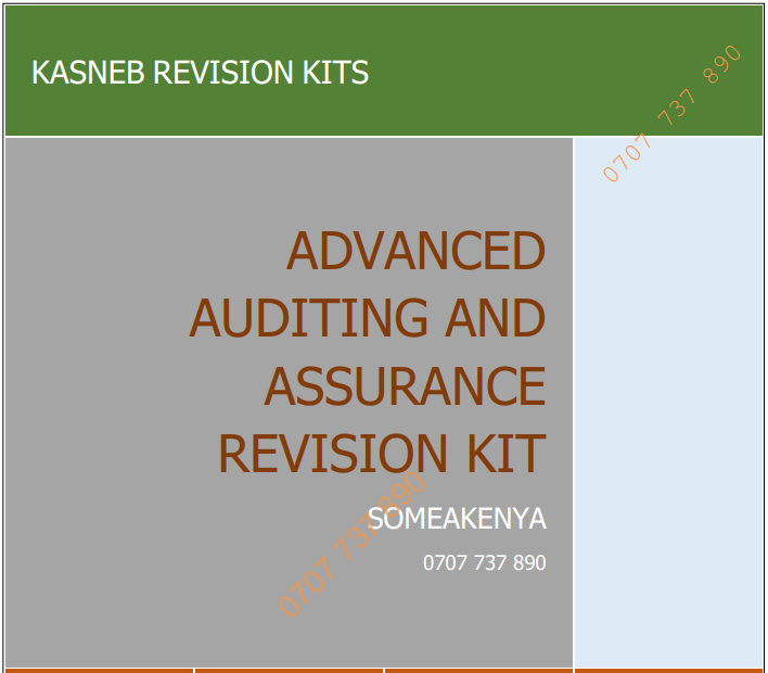 Advanced Auditing and Assurance Revision Kit